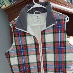 Lands End women's plaid vest brand new.